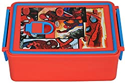 Marvel Spiderman Plastic Lunch Box Set, 960ml, Red/Blue