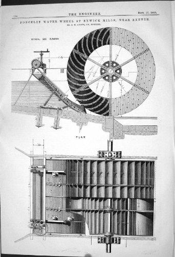 1869 PONCELET WATER WHEEL EXWICK MILLS EXETER BULLER ENGINEERING