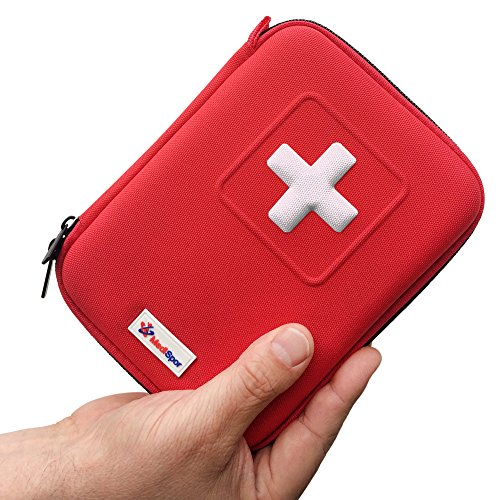 First Aid Kit (100 Pcs), MediSpor Red Cross First-Aid Kits, Best Organized Contents in Hard Case Design with Clear Pockets & Carabineer Clip for Injuries & Emergency – Perfect Home or Outdoor & Sporting Use – Light Weight & Compact, 7.9 x 5.9 x 2.7 Inches