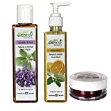 Greenviv Natural Combo of Minty Citrus Hand Wash (200 ml), Lavender & Tulsi Hair Wash (200 ml) With Strawberry Lip Balm (5 gm)