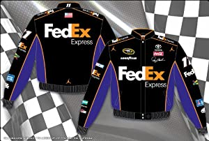 Buy 2014 Denny Hamlin FedEx Mens Black Twill NASCAR Jacket 3X by J.H. Design