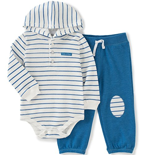 Calvin Klein Baby Boys' Striped Hooded Bodysuit with Pants Set, Blue, 18 Months