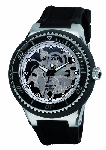 Jet Set J54934-237 - Reloj analógico de cuarzo para hombre, correa de caucho color negro