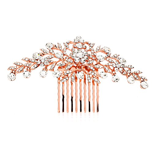 Mariell Glistening Rose Gold and Clear Crystal Petals Bridal, Wedding or Prom Hair Comb Accessory