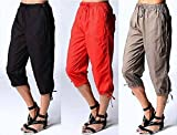 Ladies Cropped 3/4 Trousers Bottoms Pant 100% Linen Cotton Black White Red Khaki
