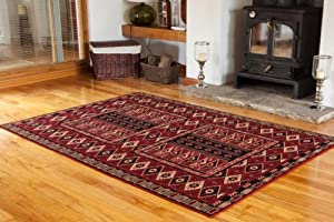 Dark Red Classic Vintage Living Room Rug - 4 Sizes Available from The Rug House