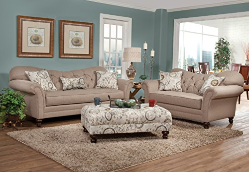 Metropolitan Dark Beige Fabric Upholstery Wood Frame Living Room Collection
