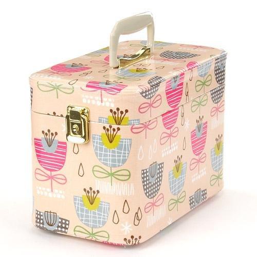 日本製 メイクボックス (コスメボックス)北欧のお花 30cm ピンク トレンケース(鍵付き/コスメボックス)