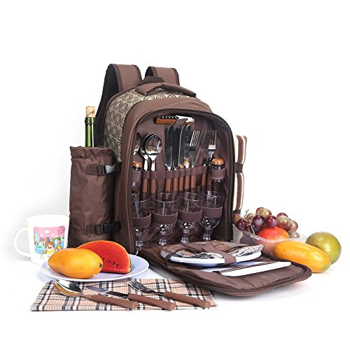 Best Review Of Apollowalker 4 Person Picnic Bag Backpack Cutlery Set for Picnic, Outdoor, Sports, Hi...