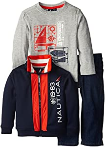 Nautica Little Boys' Long Sleeve and Fleece Three-Piece Set, Navy, 3T