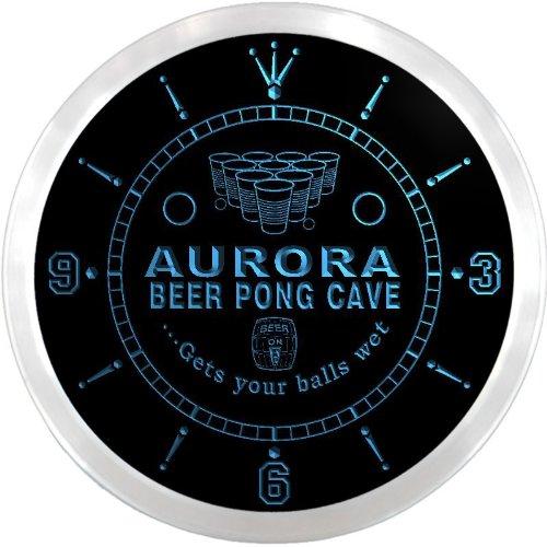 Ncqr2162-B Aurora Beer Pong Man Cave Bar Led Neon Sign Wall Clock