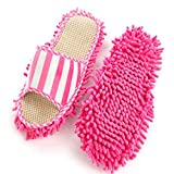 UNIWENT Pair House Floor Polishing Dusting Cleaning Foot Socks Shoes Mop Slippers Purple (Pink)