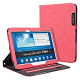Juppa® Executive Suede Finish Design Wallet Case with Premium Interior Leather Finishing includes Stand Feature, Card Holding Slots, Screen Protector, Carry Strap and Stylus Pen for Samsung Galaxy Tab 3 10.1 Inch GT-P5200, GT-P5210 Tablet (Red)