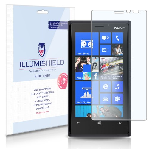 Illumishield - Nokia Lumia 920 (Hd) Blue Light Uv Filter Screen Protector Premium High Definition Clear Film / Reduces Eye Fatigue And Eye Strain - Anti- Fingerprint / Anti-Bubble / Anti-Bacterial Shield - Comes With Free Lifetime Replacement Warranty - [