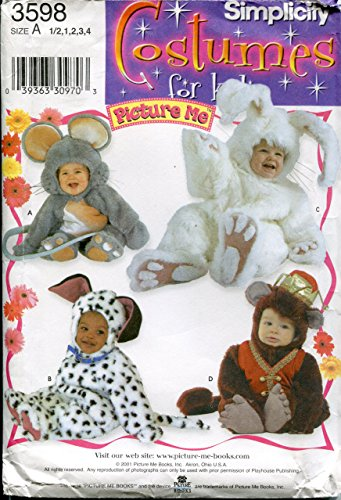 Simplicity Costumes for Kids Pattern 3598 ~ Picture Me Toddlers' Mouse, Dog, Bunny, Monkey ~ Size 1/2 - 4