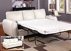 leather sofa w queen sleeper in white by acme furniture sofas