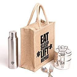 Eat sleep.Printed jute bag,specially design to carry lunch (Lunch bag,Medium Size, Height:11in, Lenght: 9in, Width:6in)
