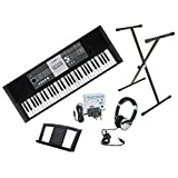 Yamaha YPT230 61 key/note, full size portable keyboard including power adaptor, Numark HF125 stereo headphones and Opus X-frame keyboard stand
