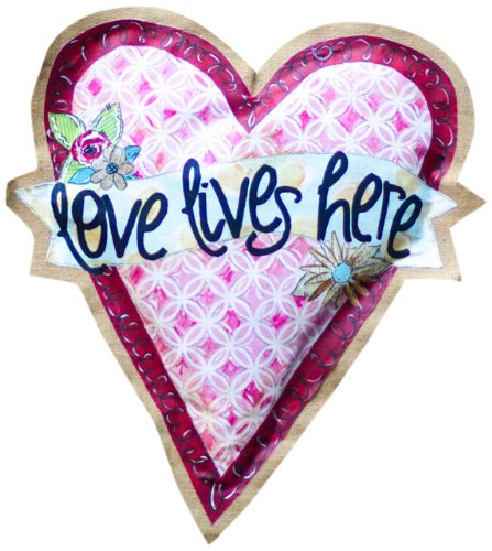 Glory Haus Love Lives Here Heart Burlee Wall Hanging,