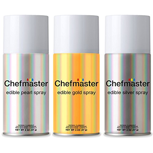 Chefmaster by US Cake Supply Edible Spray Food Coloring 3 Color Kit in 2-Ounce Cans - Gold, Silver, Pearl (Food Coloring Spray compare prices)