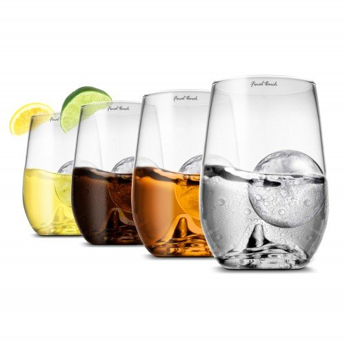 Final Touch On The Rock Glass Highball & Ice Ball Set of 4 + Gift boxed