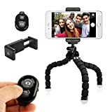 FLFLK Flexible Octopus iPhone Tripod Stand Holder with Remote for Smart Phone Digital Camera (Black)