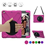 New iPad 9.7 inch Case, BRAECN Three Layer Heavy Duty Soft Silicone Hard Bumper Case Built-in-Stand Drop proof Scratch Resistant Protective Case for New iPad 5th Generation 2017 Released (Rose red)