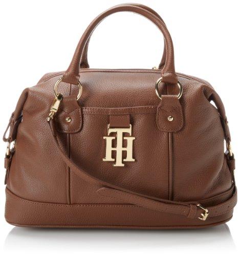 Tommy Hilfiger 6922641-Monogrammed 2 Conv Bowler Pebble Shoulder Bag,Mocha-282,One Size