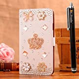 E-Prada HTC Windows Phone 8X (Not 8S) Jewelry Bling Diamond Gem Magnetic Flip Cards Slots Stand Leather Case Cover - Crown Diamond