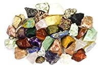 2 Pounds (BEST VALUE) Bulk Rough INDIA Stone Mix - Over 25 Stone Types - Garnet, Lapis Lazuli, Amethyst, Moonstone, Fancy Jasper, Red Carnelian, Sodalite, Tree Agate, Iolite, Unakite, Landscape Jasper, Clear Quartz, Sunstone, Yellow Aventurine, and MUCH M