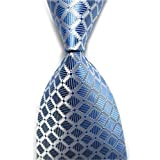 Allbebe Men's Classic Checks Light Blue Jacquard Woven Silk Tie Necktie (one size, blue&white)