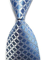 Allbebe Men\'s Classic Checks Light Blue Jacquard Woven Silk Tie Necktie (one size, blue&white)