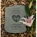 "Pet Memory Bereavement Stone ~ Paw Prints in Heaven, Paw Prints on My Heart ~ 10"" x 8"""