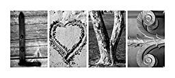 000 Alphabet Photos Word Art LOVE (w/ HEART). DIY Pre-pack includes Four (4) 4x6 Alphabet Photographs of Architectural, Industrial and Natural themed items, 1 Pack.