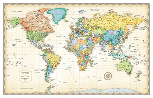 Rand Mcnally World Map (Classic Edition World Wall Map) (Topographical World Map compare prices)