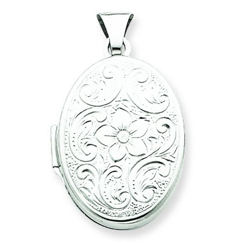 Sterling Silver Oval Floral Locket. Metal Weight- 1.53g.