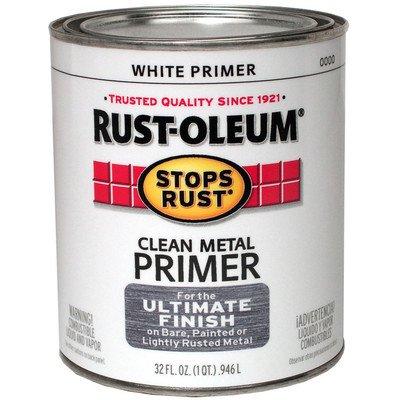 Rust-Oleum 7780504 Stops Rust, 32 oz. Quart, Flat White Clean Metal Primer