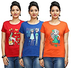 Flexicute Women's Printed Round Neck T-Shirt Combo Pack (Pack of 3)- Orange, Red & Royal Blue Color. Sizes : S-32, M-34, L-36, XL-38