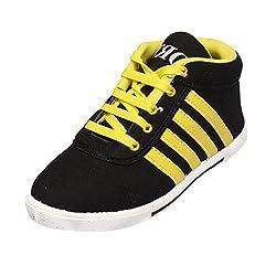 Leewon 4-lines Men's Canvas Sneakers (Size : 6 )