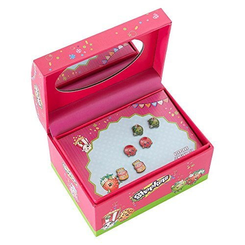 Shopkins charm 3 pierced earrings set with jewelry box and mirror for