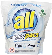 All Mighty Pacs Laundry Detergent Free & Clear 72 Pacs
