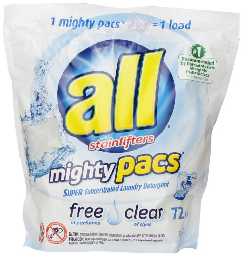 All Mighty Pacs Laundry Detergent, Free & Clear, 72 Pacs