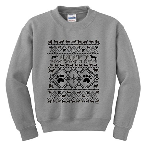 Bow Wow A Days Ugly Christmas Sweater With Dogs Youth Crewneck Sweatshirt Medium Sport Grey