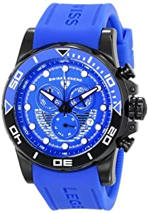 """Swiss Legend Men's 21368-BB-03 """"Avalanche"""" Stainless Steel Watch with Blue Silicone Band"""