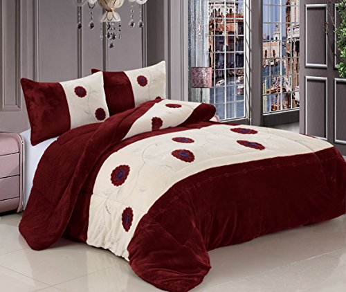 3 Pc King Comforter Bedspread Thick Warm Sumptuously Soft Beautifully Embroidered Plush Faux Fur Borrego Sherpa Reversible Sherpa Winter Blankets (Burgundy) front-922485