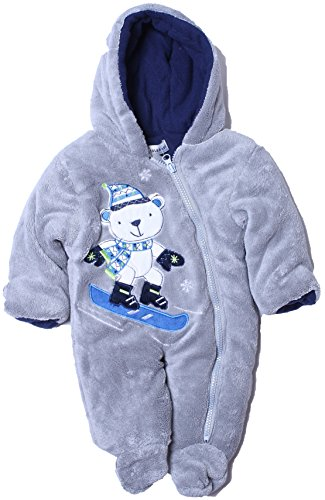 Cone Isle Baby - Baby Boys 0-9M Plush Snow Bear Snowsuit Pram -Grey6/9M back-421009