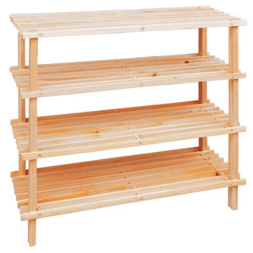 Premier Housewares 68 x 74 x 26 cm 4 Tier Slatted Wooden Shoe Rack
