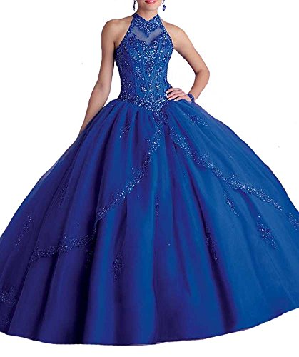 Sunday Women's High Neck Sweet 16 Beads Christmas Quinceanera Dresses 6 US Royal Blue (Blue Quinceanera Dresses compare prices)