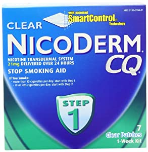 Nicoderm CQ Step 1 Clear Patch, 21mg, 7-Count