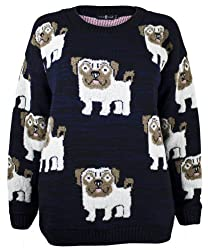 The Home of Fashion Womens Navy Blue Pug Dog Print Long Sleeved Chunky Knitted Jumper